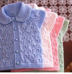 Lace baby jacket (knit with cr Baby Knitting Patterns, Knitting For Kids, Crochet For Kids, Baby Patterns, Crochet Baby, Hand Knitting, Knit Crochet, Knitted Baby, Sweater Patterns