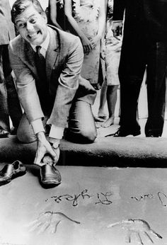 Dick Van Dyke: Richard Wayne Van Dyke (born December 13, 1925) at his hand and footprint ceremony at Grauman's Chinese Theatre - June 1966