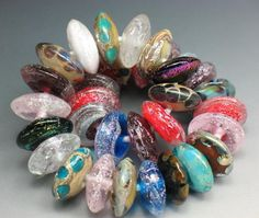 SJC Lampwork 33 handmade dichroic & silver glass disc beads ~SRA~ USA~ #SJCLampwork #Lampwork