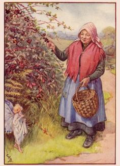 Out steps a fairy...  Illustration by Cicely Mary Barker.  No further information.