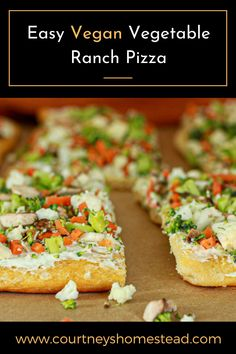 These easy vegan vegetable pizza is a perfect appetizer.  These are easy to make and full of flavor!#veganappetizers #veganvegetablepizza #vegannewyearseverecipes