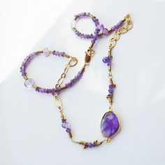 Amethyst Necklace - February Birthstone Necklace - Gold and Amethyst Gemstone Necklace - Beaded Amethyst Necklace - Statement Gift For Her by PETALTOMETALJEWELS on Etsy
