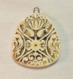 by Sheri Mallery Victorian  Floral Ceramic Handmade Pendant by SlinginMud on Etsy, $11.00