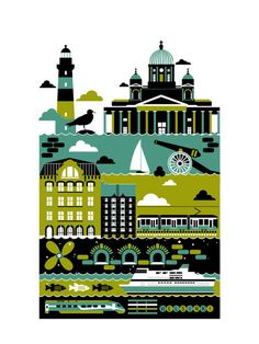 Petersburg freelance illustrator Xenia Bystrova created a four poster series of Berlin, Amsterdam, Helsinki and Copenhagen. This is the Helsinki poster which features the Tuomiokirkko (Helsinki Cathedral) and Suomenlinna Fort. Helsinki, Gravure Illustration, City Illustration, Number Art, Poster Series, Poster Prints, Art Prints, City Maps, Vintage Travel Posters