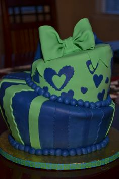 Topsy Turvy Cake that was donated for a benefit.