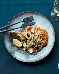 Pounding bone-in pork chops thin before pan-frying means they cook in just 5 minutes.
