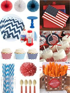 Last Minute Red, White and Blue Party Inspiration for Memorial Day #party #partyideas #redwhiteblue #printabels #partysupplies #partyshop