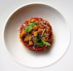 Italian twist on tartare with basil foam and anchovy  @ Dune Restaurant Cafe Lounge in Mielno, Poland