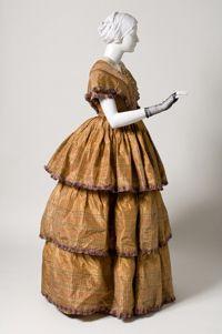 Silk afternoon dress, American, c. 1850.
