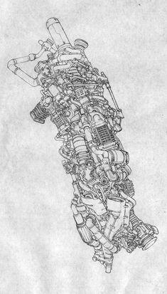 Drawing Note - 13 by Jong Hwan on ArtStation. Arte Robot, Robot Art, Ink Illustrations, Illustration Art, Art Sketches, Art Drawings, Cyberpunk Kunst, Spaceship Art, Perspective Art