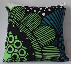 Marimekko Pillow | 16x16  Sirtolapuutarha pattern by Maija Louekari | Blue-Gren | Floral Pillow (40x40cm) by PantsandPillows