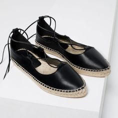 Image 2 of LEATHER LACE-UP ESPADRILLES from Zara