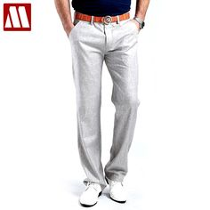Men Summer Linen Casual Pants Stretch Flax Cotton Business Pants Male Casual Trousers Men's Clothing