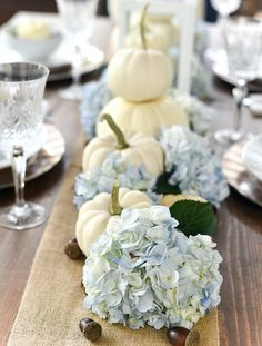 Fall Table: White Pumpkins & Hydrangeas - It All Started With Paint