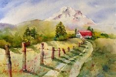 Hood River Valley, original watercolor by Denise Jacqueline Newbold