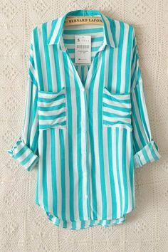 Thinking Spring! Aqua Stripes Two Pocket Lapel Blouse #Spring #Color #Stripes #Fashion