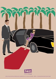limo et tapis rouge = Cannes