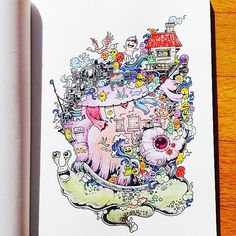Adults around the world are crazy about coloring books and Kerby Rosanes, the Philippines-based illustrator, has a wonderful book for them - 'Doodle Invasion'.