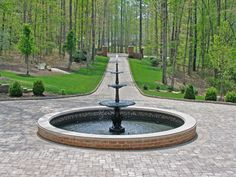 Circular paver driveway with fountain and view to street. Natural plantings designed along the driveway approach. House Landscape, Landscape Design, Garden Design, Landscaping Ideas, Driveway Entrance, Driveway Ideas, Driveway Design, Circle Driveway Landscaping, Landscaping