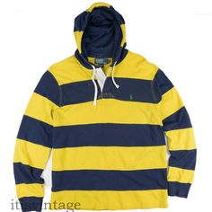 Polo Ralph Lauren Hoodie Shirt Large Pique Pullover Striped Rugby Sweatshirt L #PoloRalphLauren #Hoodie #itisvintage #polo #ralphlauren #colorblock #sweatshirt