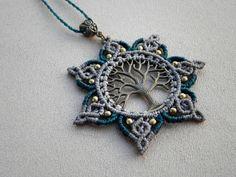 Macrame ''Tree Of Life MANDALA'' Necklace.
