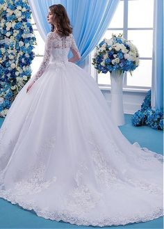 Wedding Dresses Simple, Wonderful Tulle Scoop Neckline Natural Waisltine Ball Gown Wedding Dress With Lace Appliques & Beadings Midi Bridal Uk- Wedding Dress Backs, Sheer Wedding Dress, Sheath Wedding Gown, Luxury Wedding Dress, Classic Wedding Dress, Sexy Wedding Dresses, Bridal Dresses, Wedding Gowns, Lace Dress