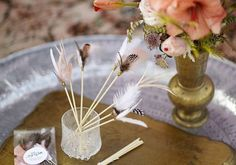 Diy feather toppers. . What a cute idea for the Batchlorette Party.. make them for stir sticks. .or clusters for decorating.. maybe a cake topper. !?