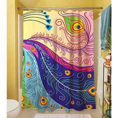 Thumbprintz Peacock Feathers Shower Curtain 71 X 74