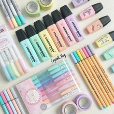 💖💛💚💙💜 Absolutely amazing pastel color pen collection by ~ You can find all these gorgeous pens in our online store (link… Stationary School, Cute Stationary, School Stationery, Stationary Supplies, Art Supplies, Stationary Organization, Room Organization, Kawaii Pens, Cool School Supplies