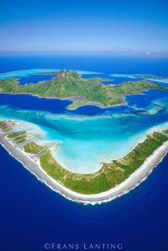 Barrier reef around Mount O' Temanu (aerial), Bora Bora, Tahiti