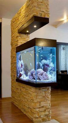 15 Stunning Aquarium Design Ideas for Indoor Decorations Home Aquarium Fish, Wall Aquarium, Big Aquarium, Fish Home, Living Room Partition Design, Room Partition Designs, Aquarium Design, Big Fish Tanks, Fish Tank Wall