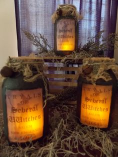 Primitive Folk Art Halloween Luminere Tryals of Seberal Witches Salem New England 1664 Fall Halloween Prop, Halloween Mason Jars, Halloween Apothecary, Halloween Potions, Halloween Projects, Holidays Halloween, Vintage Halloween, Happy Halloween, Halloween Decorations