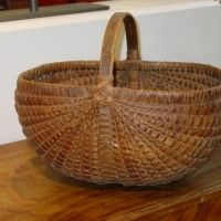 Oblong Basket with Dark Patina