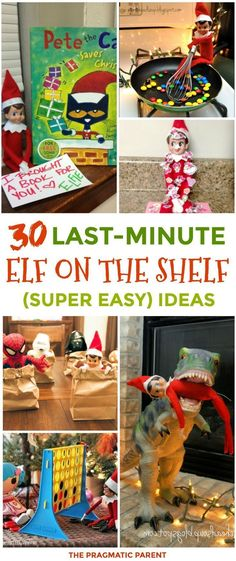 30 Quick & Easy Elf on the Shelf Ideas To Pull Together in 5 Minutes or Less. Easy and fun elf on the shelf ideas you already have the supplies for. Easy elf on the shelf ideas for busy parents. Quick last-minute elf on the shelf ideas. by deanne Noel Christmas, All Things Christmas, Christmas Ideas, Xmas Elf, Christmas Wrapping, Funny Christmas, Christmas Activities, Christmas Traditions, Holiday Crafts