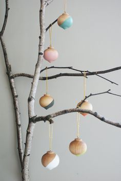 "One Wooden Ball Ornament, 2"" diameter, available in 6 colors. $7.50, via Etsy."