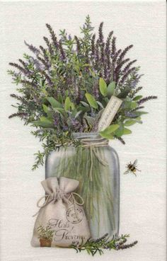 Flour Sack Towel - Set of 3 Lavender & Herbs Design by Mary Lake-Thompson Decoupage Vintage, Vintage Diy, Decoupage Paper, Vintage Labels, Vintage Cards, Vintage Paper, Vintage Images, Art Floral, Decoupage Furniture