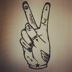 #illustration #tattoo #hand #peace