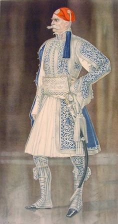 History of the Fustanella (chiton) - Greek General's Full Dress of 1835 including Fustanella - Greek Costume Collection by NICOLAS SPERLING (Russia / act: Athens). Greek Traditional Dress, Traditional Fashion, Traditional Outfits, Ancient Greek Costumes, Greek Dancing, Authentic Costumes, Kaftan, Greek History, Period Outfit