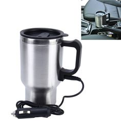 [$3.93] Stainless Steel Electric Smart Mug 12V Car Electric Kettle Heated Mug Car Coffee Cup With Charger Cigarette Lighter Heating Cup Kettle Vacuum Insulated Water Heater Mug