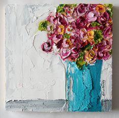 Vase of roses - OILfull- donna downey