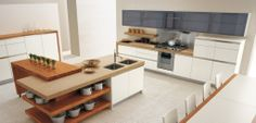 Italian Kitchen Style Designed by GeD Cucine:Open Kitchen Island Shelving With White Kitchen Cabinetry Design