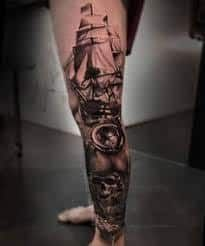 Grab your hot tattoo designs. Get access to thousands of tattoo designs and tattoo photos Pirate Tattoo Sleeve, Nautical Tattoo Sleeve, Leg Sleeve Tattoo, Leg Tattoo Men, Best Sleeve Tattoos, Tattoo Sleeve Designs, Biker Tattoos, Badass Tattoos, Hot Tattoos