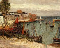 """Maxime Maufra (French landscape and marine painter, 1861-1918)  """"The Port of Sauzon"""", 1905"""