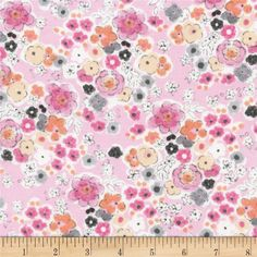 Timeless Treasures Flora and Fawn Floral Pink from @fabricdotcom  From Timeless Treasures, this cotton print is perfect for quilting, apparel and home decor accents. Colors include shades of pink, coral, grey and white.