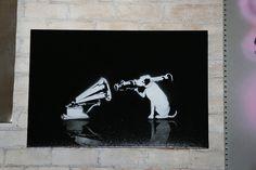Banksy ~ Black White HMV Rocket Dog