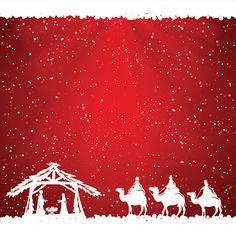 Christian Christmas scene on red background, illustration. Christmas Nativity, Christmas Art, Christmas Projects, Christmas Themes, Christmas Decorations, Christmas Background, Red Background, Background Images, Christian Christmas