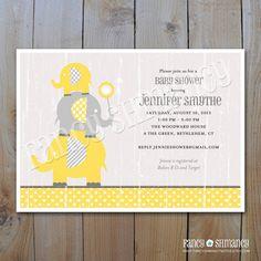 Elephant Baby Shower Invitation / Grey and Yellow  Elephants / Printable DIY Invitation 42812