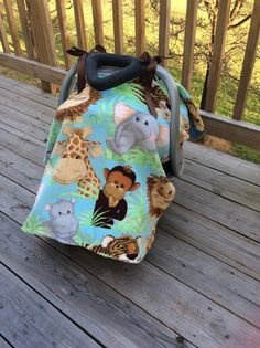 Fleece and minky safari ribbon tie car seat canopy  by BBsBanners