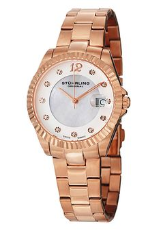 Shop for Stuhrling Original Women's Lady Clipper Pearl Quartz Stainless-Steel Bracelet Water-Resistant Watch - GOLD. Get free delivery On EVERYTHING* Overstock - Your Online Watches Store! Online Watch Store, Rose Gold Jewelry, Stainless Steel Bracelet, Vintage Watches, Pearl White, Gold Watch, Swarovski Crystals, Jewelry Watches, Pearls