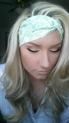 Cream green and blue Paisley twist headband by TheWoodenAntler, $12.00 Blonde hair perfect curls make up eye shadow eyelashes skin foundation cute beautiful